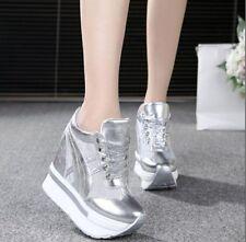 Women Hidden Wedge Heels Sneakers Lace Up Mesh Platform Casual Shoes Creepers @@