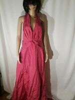 Tadashi Silk Raspberry Halter Long Evening Dress Size 16 NWT