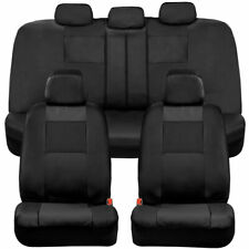 BDK Full Set PU Leather Car Seat Covers - Front & Rear Two-Tone in Black