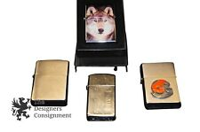 Lot of 4 1991 Slim, 2005, 2006 Enameled Cleveland Browns Wolf Zippo Lighters