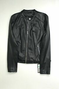 GUESS Womens Faux Leather Moto Jacket Large Black