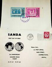 SCOTLAND SANDA ISLAND 1963 GAGARIN SPACE FLIGHT ROMANIA PAIR ON FDC W/GB QEII 1v