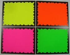 40 Sign Cards 4- Fluorescent Colers Black Jagged Border Retail Store Supplies