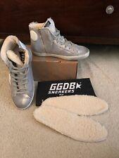 Golden Goose Francy Silver Suede White Shearling Fur Hi Top Sneakers 38