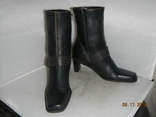 ETIENNE AIGNER Jumper Womens 8M Ankle BOOTS Black Leather Buckle Heels