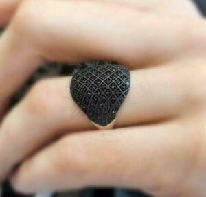 Micro Stone Solid 925 Sterling Silver Black Zircon Men's Ring