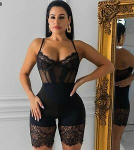 Hot Lace Playsuit Sexy Backless Jumpsuit Sleeveless Body Party Club Short Romper