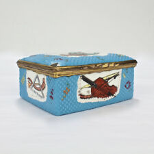 Antique 18th Cent Continental Enamel Table Snuff Box w Music & Instruments - VR
