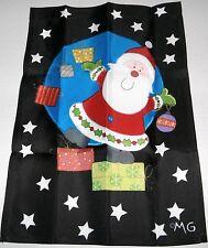"Decorative Christmas Garden Flag SANTA AND SNOWFLAKES  12 1/2"" x 18"""