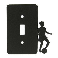 Girl Soccer Black Metal Single Light Switch Plate Cover