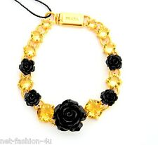 Prada MILANO cristales amarillo pulsera con caja de resina negra Rosas BNWT 100% Auténtico
