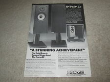 Energy 22 Speaker Ad, 1985, Article, Rare 1 pg Ad