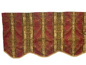 2 JC Penney Home Discontinued Scalloped Valances Curtains Red Gold Pair Chenille