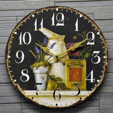 Round Wall Clock Shabby Chic Floral Kitchen Dining Room Black Battery 34cm