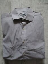DKNY Men's SLIM FIT Shirt LONG Sleeve MICRO CHECKED 15 Collar BROWN CREAM