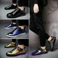 Mens Lace Up Trendy Sneakers Flats Shinny Round Toe Casual Athletic Board Shoes