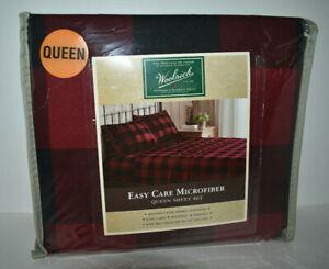 Woolrich Microfiber Red Plaid Queen Sheet Set