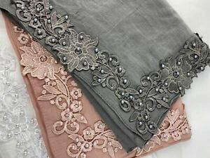 11 Colors Lace with Pearl Corner Large Size Scarf  Snood Gorgeous Trendy Hijab