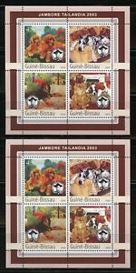 GUINEA BISSAU 2003 THAILAND SCOUT JAMBOREE LOT OF 2 SETS OF FOUR SHEETS MINT NH