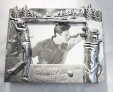 Golfing Photo Frame Textured Golf Course Scene Gleaming Silver Metal New