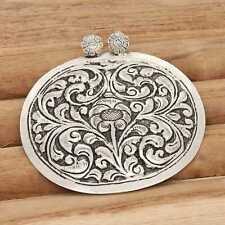 Handmade 925 Sterling Silver Flower Design Pendant 6.4 cm VJ-7245
