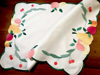 """Vintage Hand Embroidered Appliqué White Cotton Table Centre Tray Cloth 19.5x15"""""""