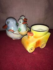 Superb Novelty Lustre Condiment Set Duck With Two Chicks & Novelty Car Egg Cup