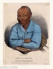 Ker-o-menée-Winnebago Chief-Indian-Indianer - Lithographie-James Otto Lewis 1835
