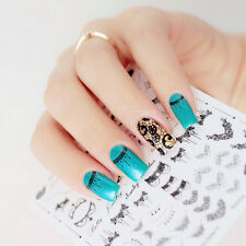 1Sheet 3D Nail Art Stickers Black Lace Necklace Nail Stickers Decals Tips