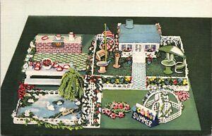 Linen Postcard Crocheted Art Four Seasons Summer Covington Kentucky~133793