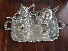 Vintage Oneida U.s.a Plateado cinco piezas de café y té Set Con Bandeja
