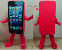 Mobile Advertising Cell Phone Mascot Costume suits red Adults size add logo hot