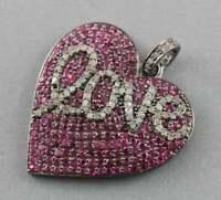 925 Silver Radiant Diamond LOVE Pendant Ruby Gems Heart Shape Vintage Pendant