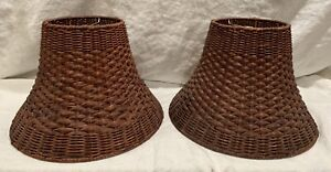 "Vintage Rattan Wicker Lamp Shade Basket Weave 9"" Tall Set Of 2 EXCELLENT"