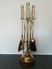 Antique Brass Fire Place Companion Tool Set & Stand-Shovel-Brush-Poker-Tongues.