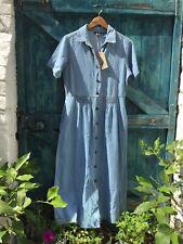 Womens Denim Shirt Dress Blue Vintage Western Boho Maxi Size M VGC