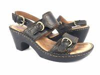 Born BOC Sz 8 Black Leather Strappy Slingback Platform Wedge Sandals