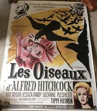 """The BIRDS *linen* CinePoster French One Panel """"Grande"""" Size"""