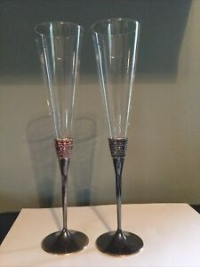 "pair VERA WANG WEDGEWOOD ""With Love"" Champagne Toasting Flutes glasses Silver"