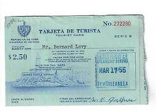 1955 Tourist Card for Cuba - Trajeta de Turista