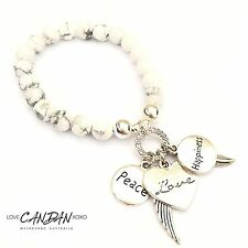 Peace Love Happiness Angel Wings And Feathers Bracelet Howlite Stones