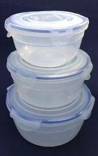 3 Lock & Lock Round Storage Freezer Micro Containers 2.2 Qt. 1.5 Qt. .90 Qt.