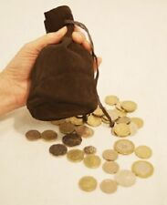 Medieval-Larp-SCA-Cosplay-BROWN LEATHER GAMING LARP DRAWSTRING BAG/POUCH