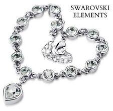 gourmette bracelet  Swarovski® Elements TRANSPARENTS charm coeur plaqué or blanc