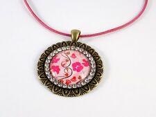 Sautoir Fleurs Rose Bronze Médaillon Strass