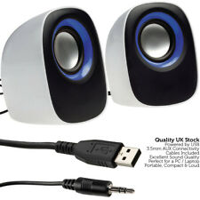 QUALITY White 2.0 PC Laptop Stereo Surround Speaker System - Active Media Tablet