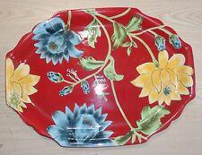 CERTIFIED INTERNATIONAL APRIL CORNELL RED W/ FLOWERS PLATTER