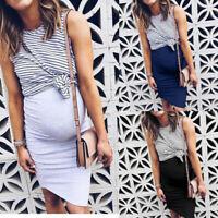 Women Summer Pregnant Maternity Nursing Casual Stripe Breastfeeding Dress