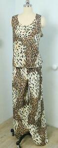 Vintage 70s Pants Tank Top & Jacket in Lurex Metallic Leopard Animal Print L XL