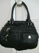 Black Leather Bag Handles & Shoulder Strap from Giovanna Zipped Compartments